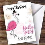 Flamingo Holly Jolly Modern Customised Christmas Card