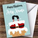 Santa In The Chimney Modern Customised Christmas Card