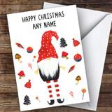 Elf Gnome Long Legs Modern Customised Christmas Card