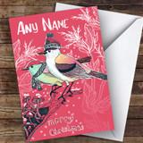 Red Birds & Leaves Modern Customised Christmas Card