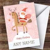 Santa Riding Horse Modern Customised Christmas Card
