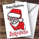 Pug Doodle Swirly Modern Customised Christmas Card