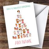 Xmas Tree Of Dogs Modern Customised Christmas Card