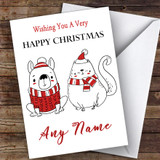 Doodle Dog & Cat Modern Customised Christmas Card
