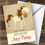 Horse With Gifts Modern Customised Christmas Card