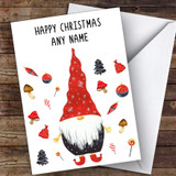 Gnome Black Top Modern Customised Christmas Card