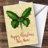 Holly Butterfly Modern Customised Christmas Card