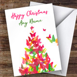 Butterfly Tree Modern Customised Christmas Card