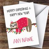Sleeping Sloth Modern Customised Christmas Card