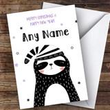 Sleepy Sloth Modern Customised Christmas Card