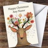 Rustic Deer Modern Customised Christmas Card