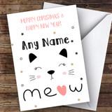 Sleepy Cat Modern Customised Christmas Card