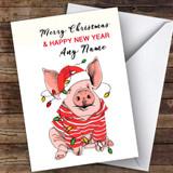 Xmas Pig Modern Customised Christmas Card