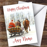 Santa Driving Horses In Snow Traditional Customised Christmas Card
