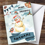 Watercolour Rustic Snowman Traditional Customised Christmas Card