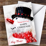 Watercolour Large Snowman Traditional Customised Christmas Card