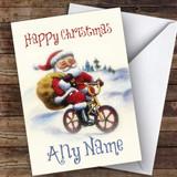 Santa On BMX Bike Traditional Customised Christmas Card