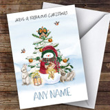 Snowman & Rabbits Traditional Customised Christmas Card
