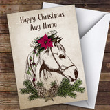 Vintage Horse Traditional Customised Christmas Card