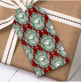 Gothic Skulls Red Christmas Gift Tags