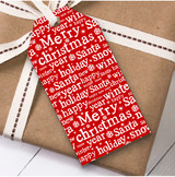 Red White Text Christmas Gift Tags