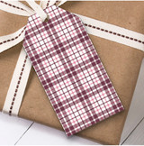 Pink Check Christmas Gift Tags