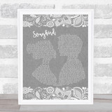 Eva Cassidy Grey Songbird Burlap & Lace Grey Song Lyric Quote Quote Print