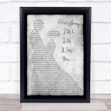 Bryan Adams Everything I Do I Do It For You Grey Song Man Lady Dancing Quote Print