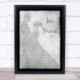 Oasis Live Forever Grey Song Lyric Man Lady Dancing Quote Quote Print
