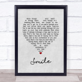 Nat King Cole Smile Grey Heart Song Lyric Quote Print