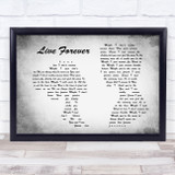 Oasis Live Forever Man Lady Couple Grey Song Lyric Quote Quote Print