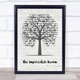Matt Monro The Impossible Dream Music Script Tree Song Lyric Quote Music Framed Print