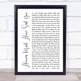 The Elgins Heaven Must Have Sent You White Script Song Lyric Quote Music Framed Print