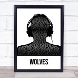 One Direction Wolves Black & White Man Headphones Song Lyric Quote Music Framed Print