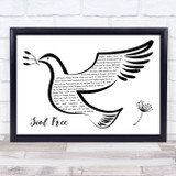 George Michael Soul Free Black & White Dove Bird Song Lyric Quote Music Framed Print