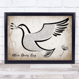 Prince When Doves Cry Vintage Dove Bird Song Lyric Quote Music Framed Print