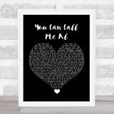 Paul Simon You Can Call Me Al Black Heart Song Lyric Quote Music Framed Print
