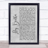 Avicii Hey Brother Grey Rustic Script Song Lyric Quote Music Framed Print