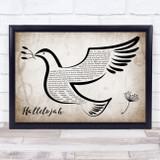 Leonard Cohen Hallelujah Vintage Dove Bird Song Lyric Quote Music Framed Print