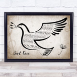 George Michael Soul Free Vintage Dove Bird Song Lyric Quote Music Framed Print
