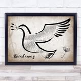 Kelly Clarkson Breakaway Vintage Dove Bird Song Lyric Quote Music Framed Print