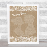 ABBA Dancing Queen Burlap & Lace Song Lyric Quote Music Framed Print