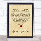 Hall & Oates Sara Smile Vintage Heart Song Lyric Quote Music Framed Print