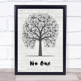 Jess Glynne No One Music Script Tree Song Lyric Quote Music Framed Print