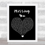The Vamps Missing You Black Heart Song Lyric Quote Music Framed Print