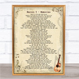 Maroon 5 Memories Vintage Guitar Song Lyric Quote Music Framed Print