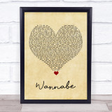 Spice Girls Wannabe Vintage Heart Song Lyric Quote Music Framed Print