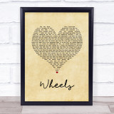 Foo Fighters Wheels Vintage Heart Song Lyric Quote Music Framed Print