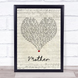 Pink Floyd Mother Script Heart Song Lyric Quote Music Framed Print
