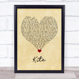 U2 Kite Vintage Heart Song Lyric Quote Music Framed Print
